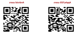 QR Codes to download the TEAMS app on the apple 和 google st要么e
