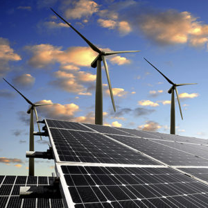 photo of solar panels and wind turbines on a beautiful blue skied day