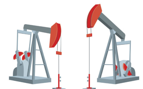 illustration of two oil pump jacks
